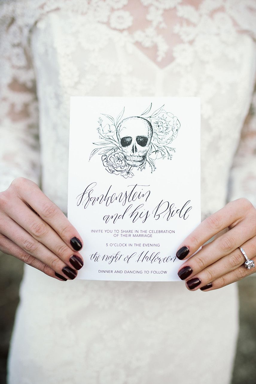 Edgy black and white take to a dark themed wedding! The skull design ...