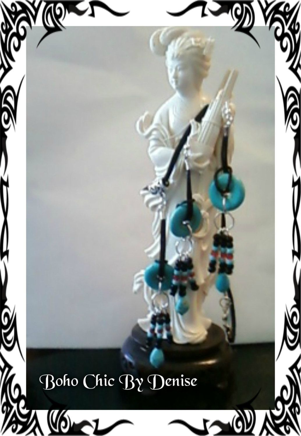 Boho/hippie tribal jewelry set. Necklace and earrings. by BohoChicByDenise on Etsy