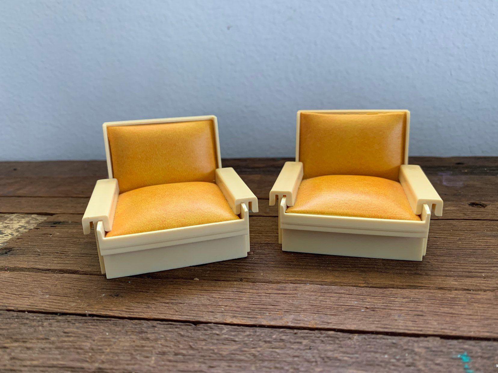 Vintage Dollhouse Yellow Plastic Arm Chair Mid Century Miniature  FREE SHIP!