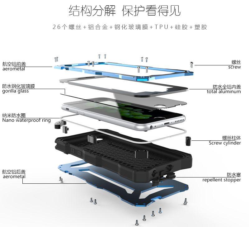 R-Just Gundam IP68 2M Waterproof Shockproof Dirtproof Snowproof Gorilla Glass Screen Silicone Patent-Pending Aluminum Alloy Metal Case for Apple iPhone 6S/ iPhone 6S Plus/ iPhone 6/ iPhone 6 Plus