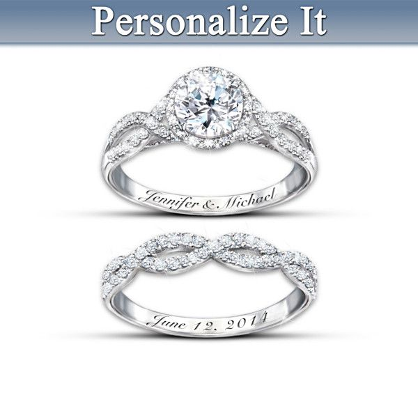 Diamonesk Personalized Bridal Ring Set Bradford Exchange 119 00 Or 4 Payments Of 29 75