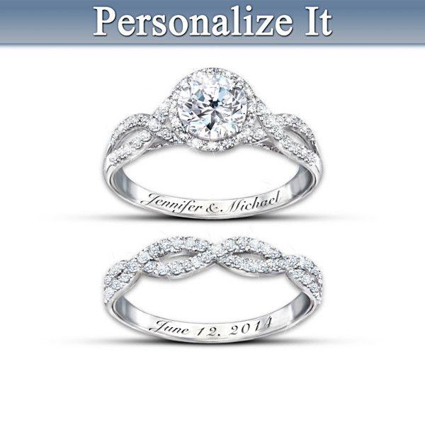Entwined Diamonesk Personalized Bridal Ring Set Bridal ring sets