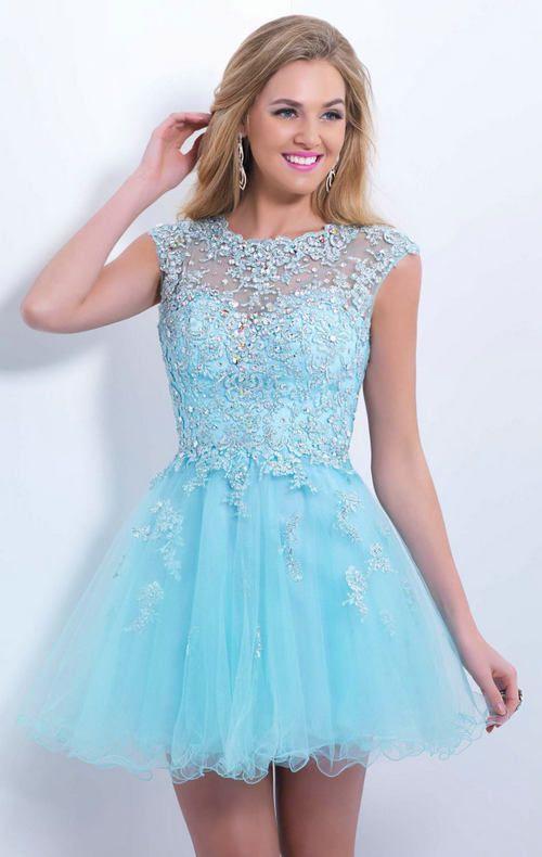 Cute Light Blue Ball Gowns