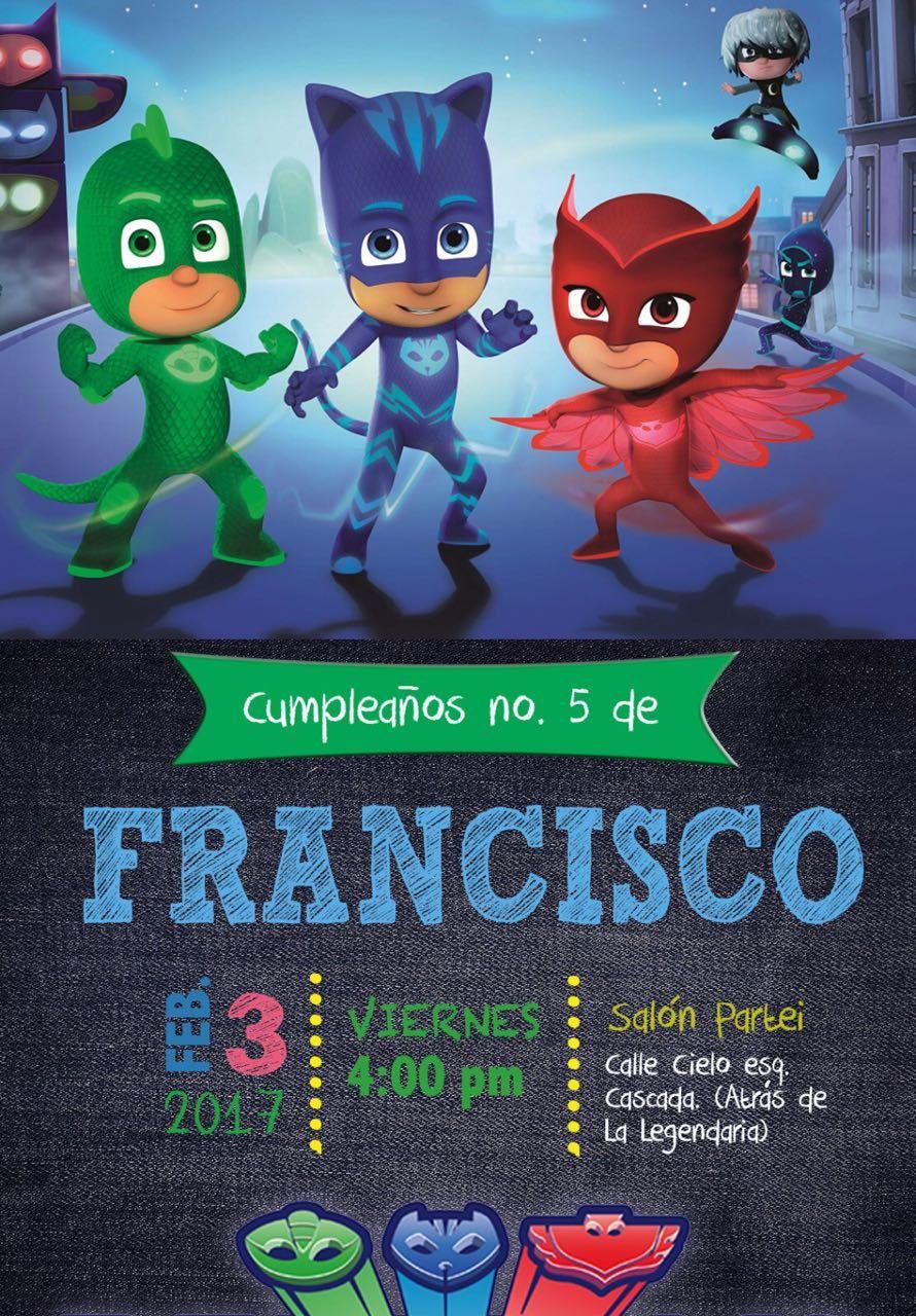 Invitation Pj Mask Party Invitaciones De Cumpleaños