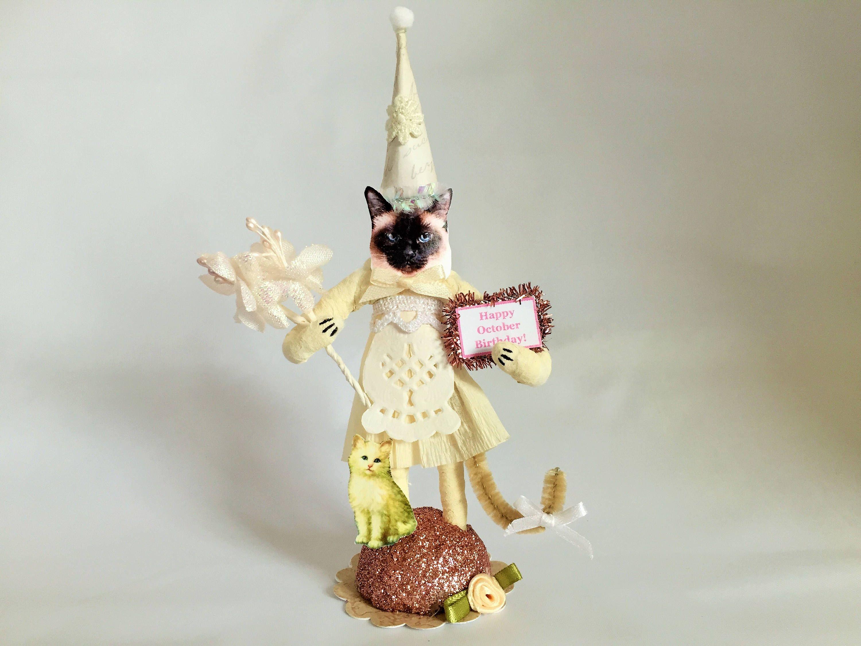 Siamese CAT Happy October Birthday Birthstone Opal SPUN