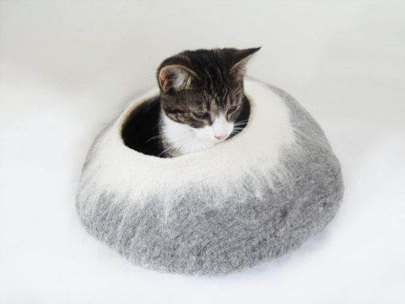 Cat Bed Cat Cave Cat House Igloo Natural Grey And White Felted