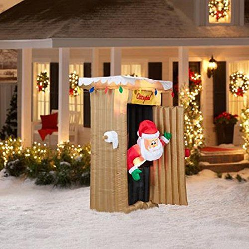Christmas Inflatable 6 Ft Tall Animated Led Lighted Outhouse Santa Outdoo Inflatable Christmas Decorations Christmas Inflatables Animated Christmas Decorations