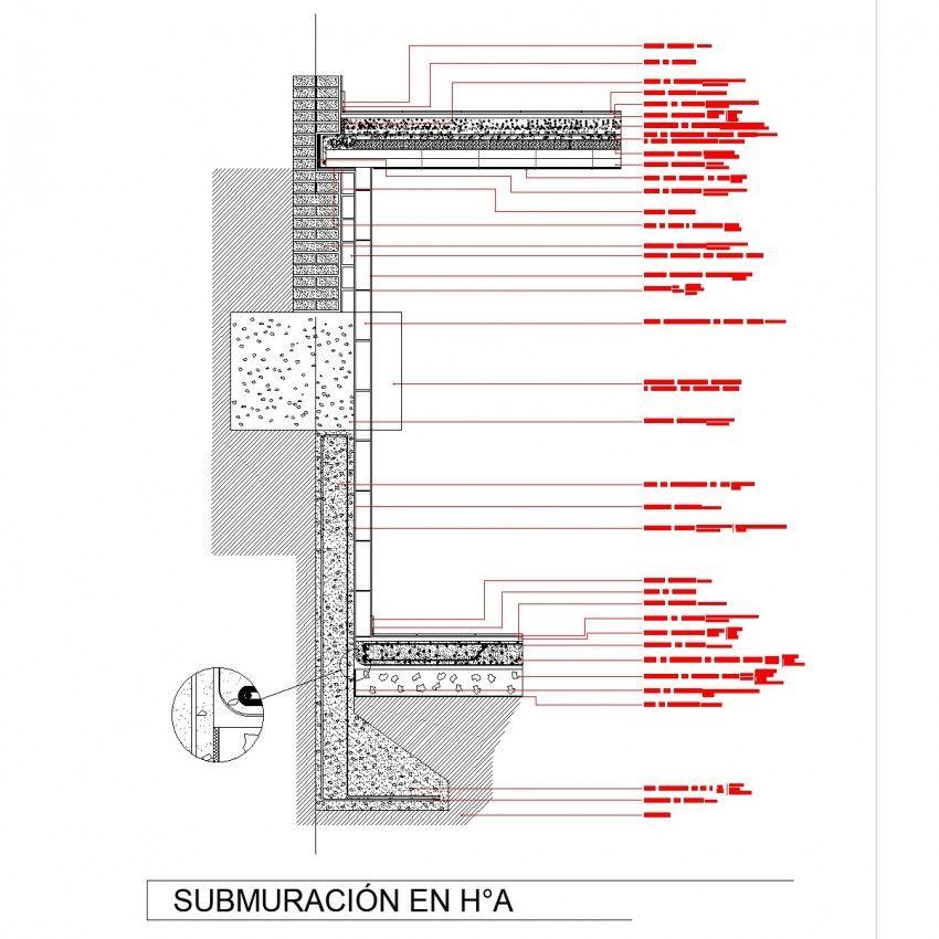 Submuracion Reinforced Concrete Section Plan Dwg File Concrete Wall Window Detail Stair Detail