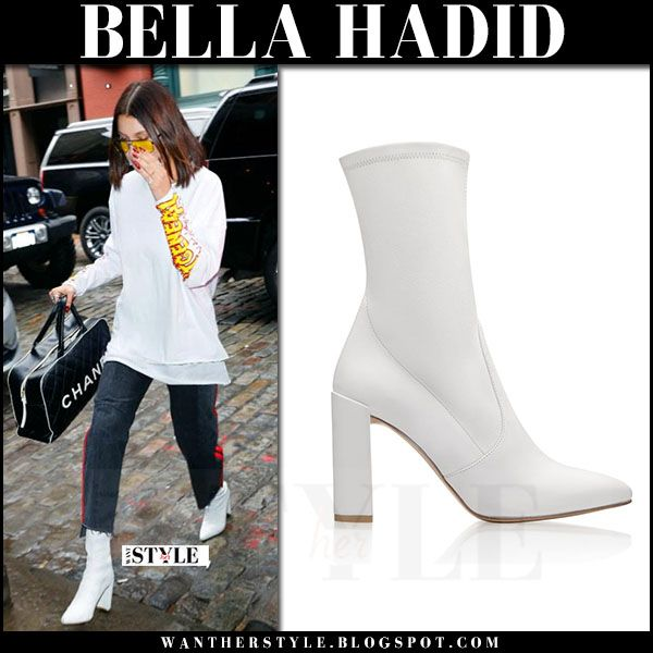 8f8843783 Bella Hadid in white leather boots stuart weitzman clinger | FALL ...