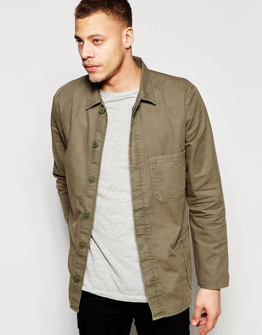 Image 1 of ASOS Worker Overshirt In Khaki With Long Sleeves. Shirt MenKhakis JanoHerrinSearchJackets