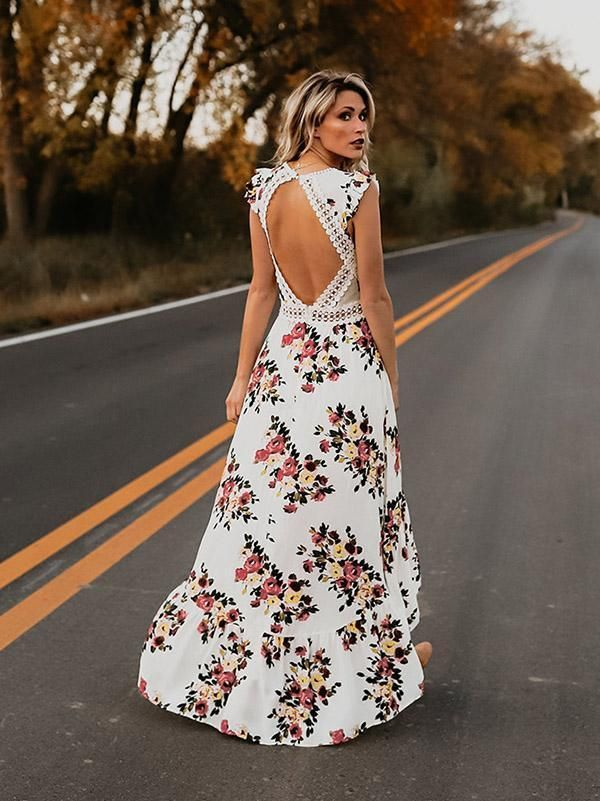 829df3912b Bohemia Asymmetry Floral V Neck Backless Maxi Dress