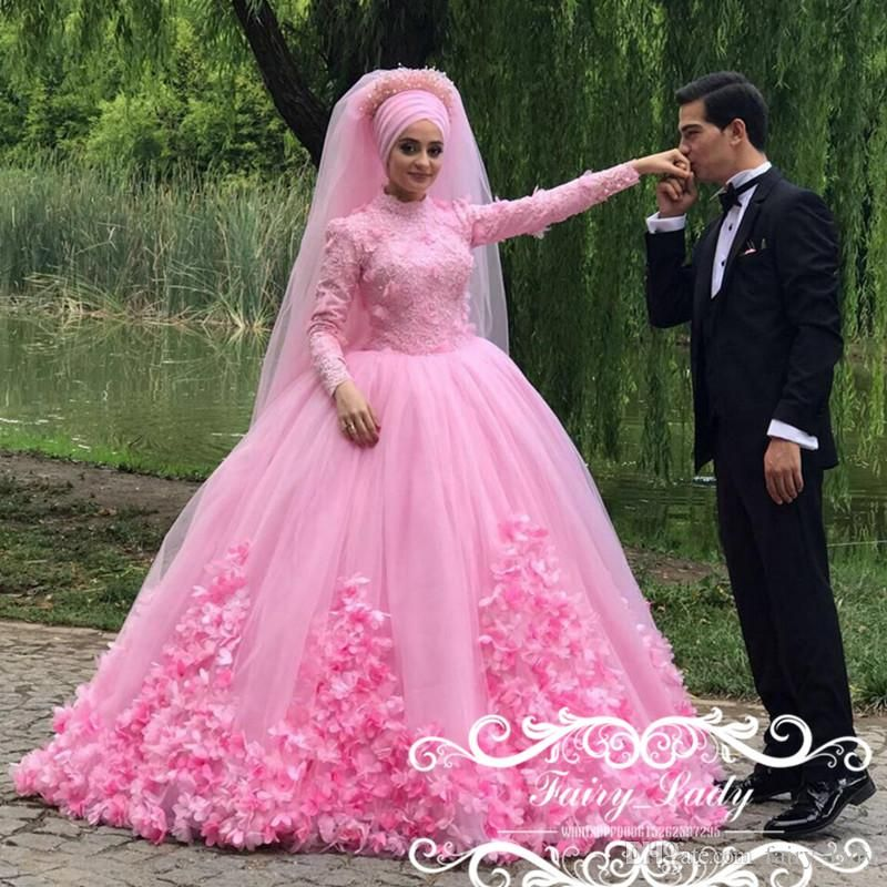 Luxury 3D-Floral Appliques Flowers Pink Lace Muslim Wedding Dresses ...