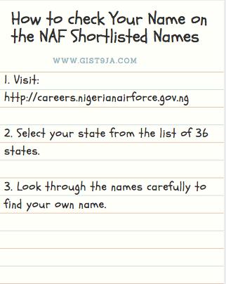 Naf Shortlist 2017 Nigerian Airforce Shortlisted Names And Result