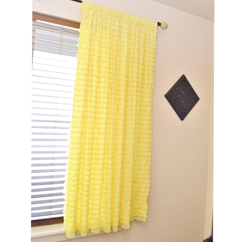 Ruffle Curtain Panel Butter Yellow 48 Inches Long By 44 Inches Wide Long Curtains Curtains Ruffle Curtains