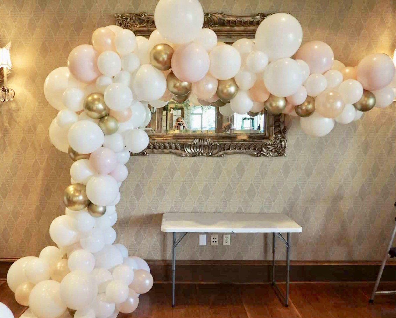 Balloon Garland White Peach Blush Pink Chrome Gold Balloon