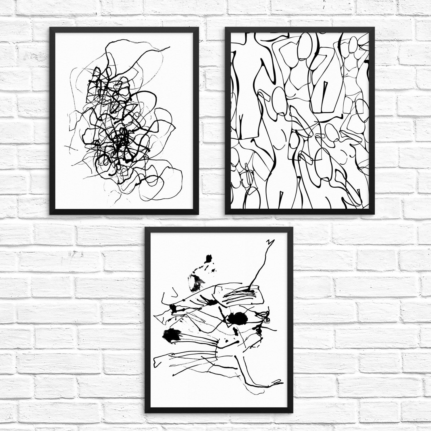 Black White Modern Abstract Wall Decor Art Print Poster Set