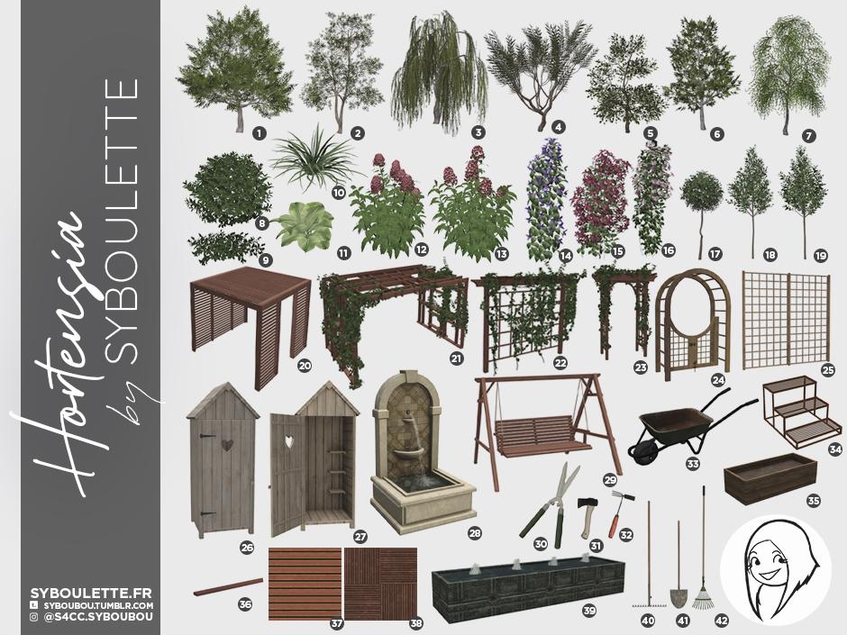 Hortensia garden cc Sims 4