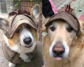 Tweed Deerstalker Hat With Ear Holes For Corgis Medium Large Etsy Dog Hat Corgi Dog Bowtie