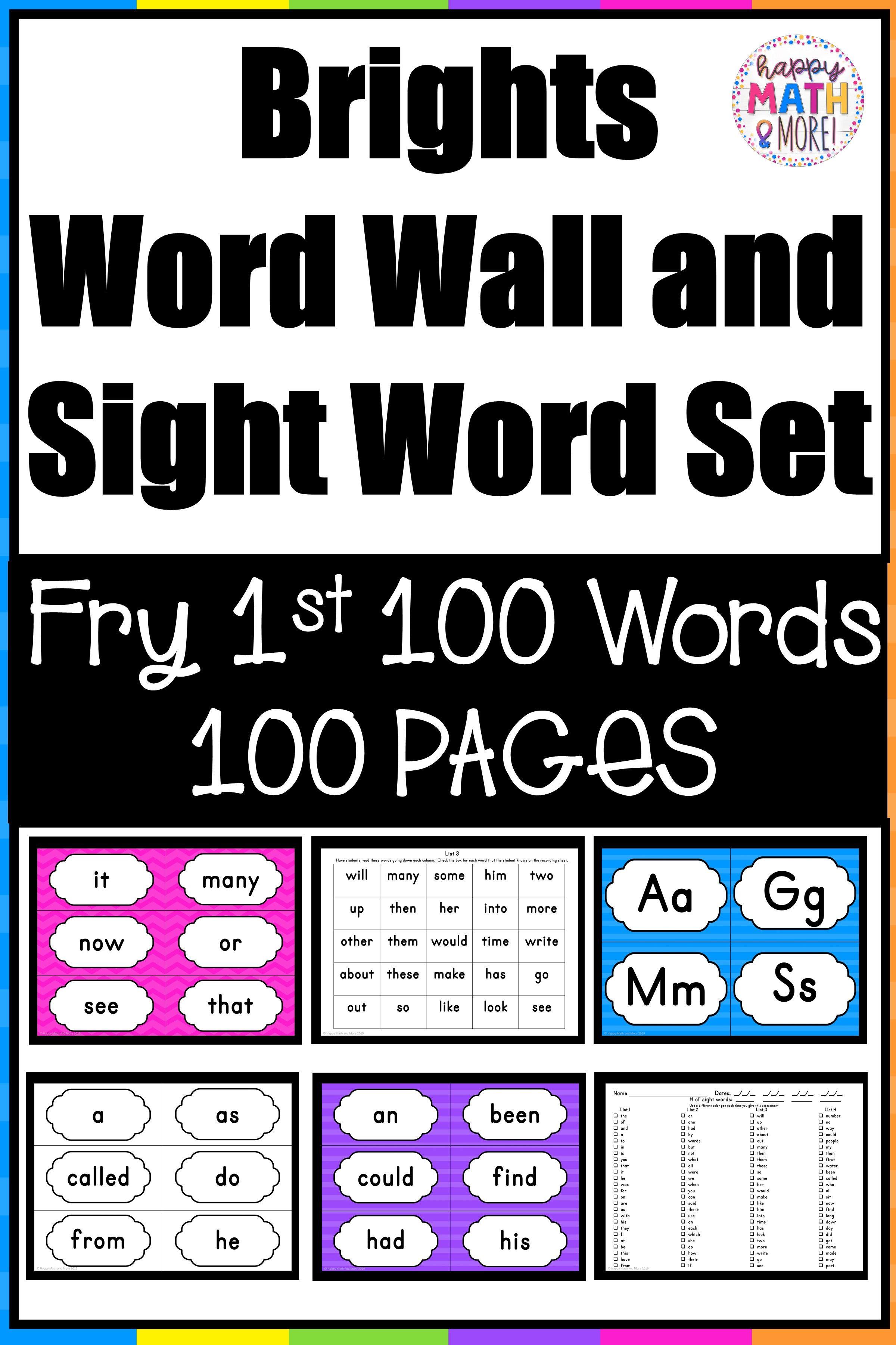 Brights Word Wall And Sight Word Set