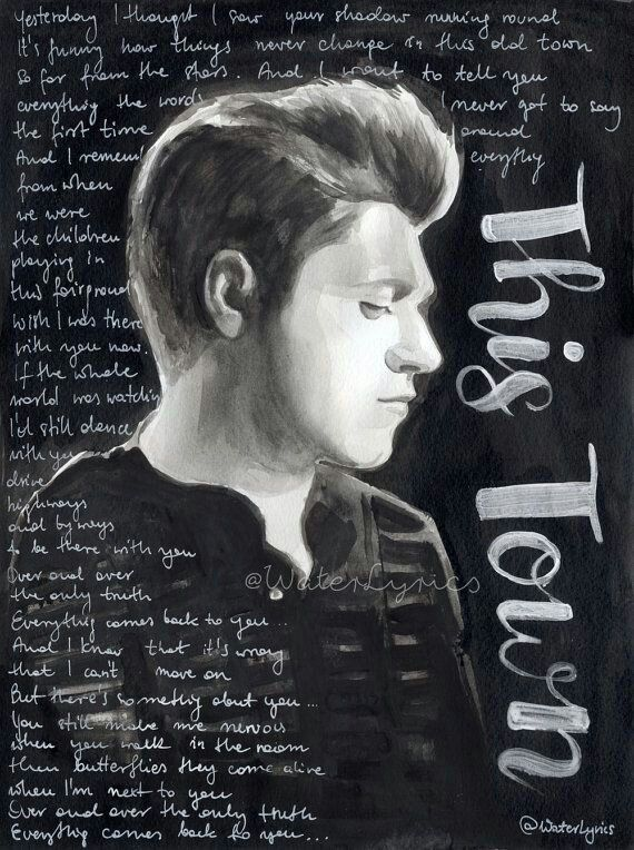 This Town Niall Horan One Direction Lyrics Niall Horan Watercolor Portraits