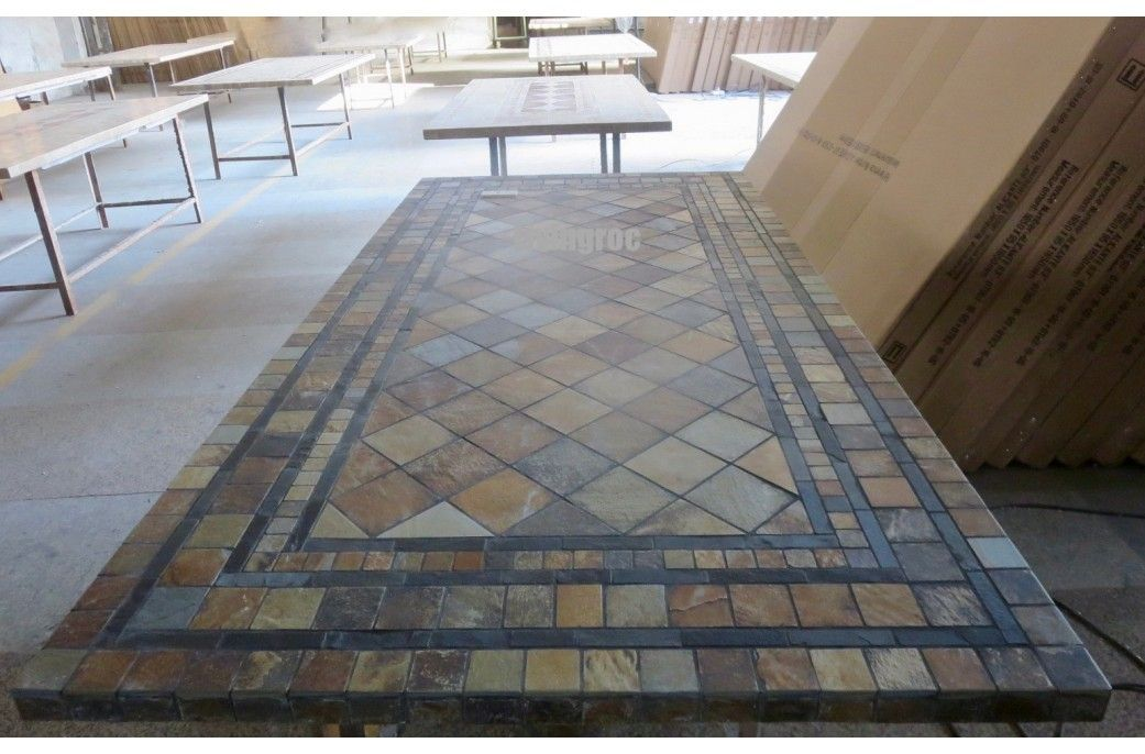 78 94 Outdoor Slate Top Stone Mosaic Dining Table Maple Mosaiccountertoptops Outdoor Stone Mosaic Patio Table Patio Dining Table