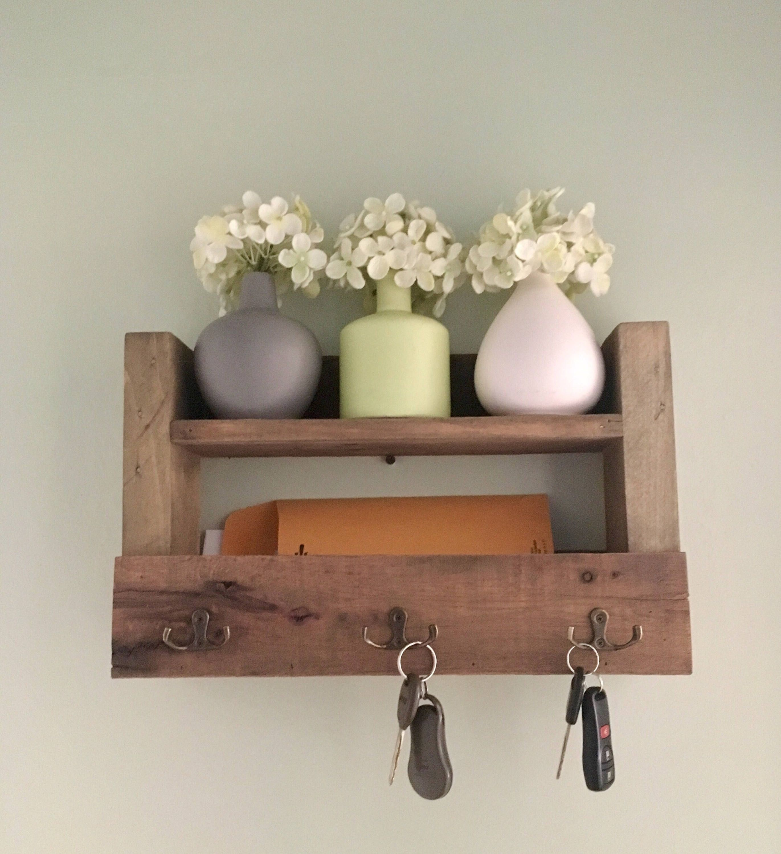 Reclaimed Wood Key Holder Mail Holder Rustic Decor Farmhouse