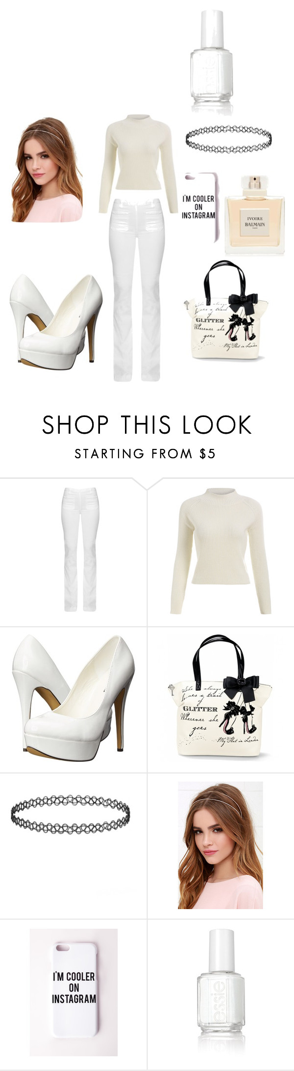 """""""Mostly White"""" by krisalyn117 ❤ liked on Polyvore featuring Frame Denim, Michael Antonio, Lulu*s, Missguided, Balmain, Essie, women's clothing, women, female and woman"""