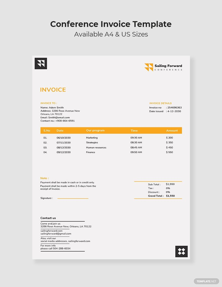 Conference Invoice Template Free Pdf Google Docs Google Sheets Excel Word Template Net Invoice Template Invoice Template Word Document Templates