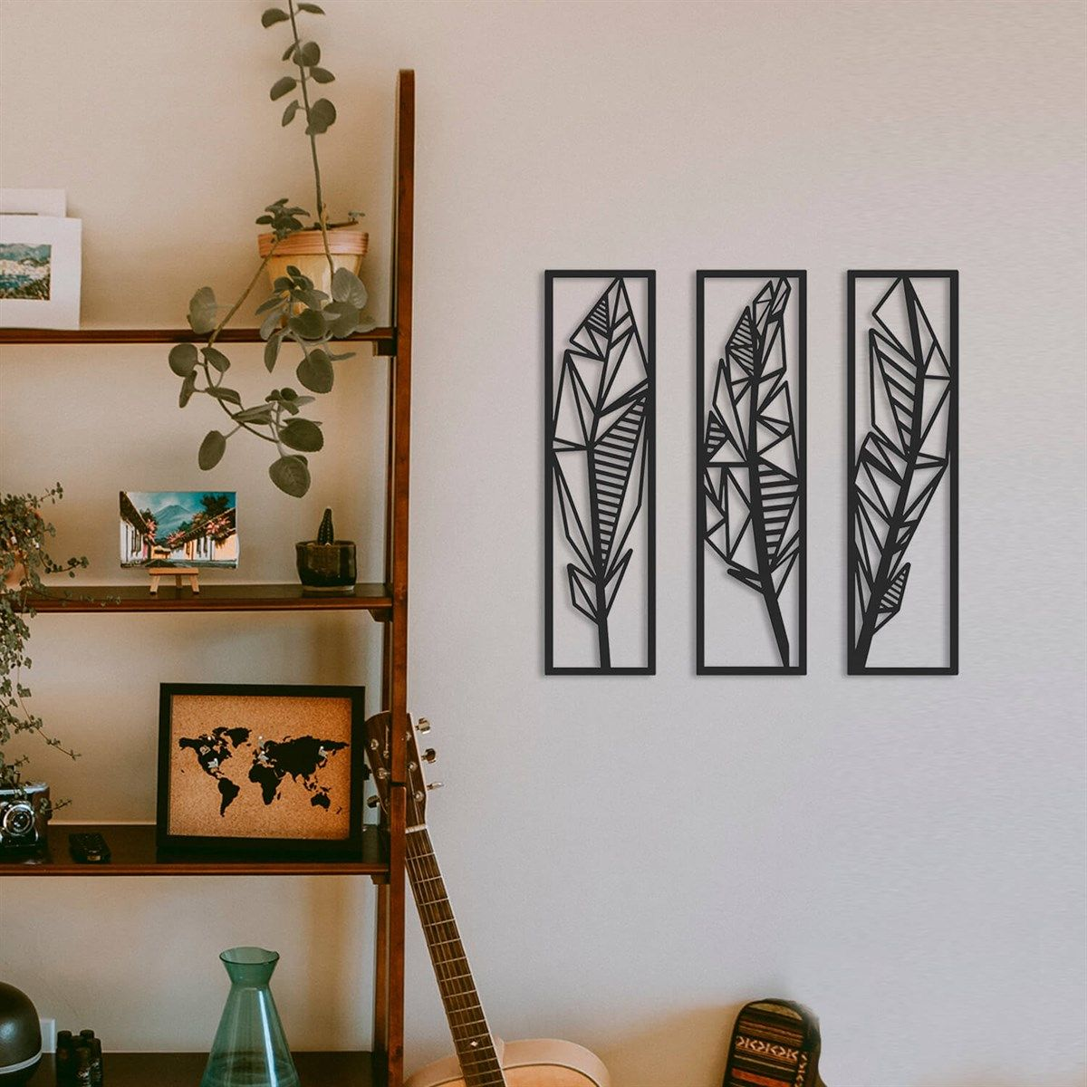 Feather 12 Set Metal Wall Art   APT12   Black   Modern Home Decor ...