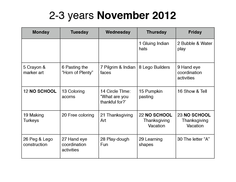 Preschool Lesson Plans For October November Plan