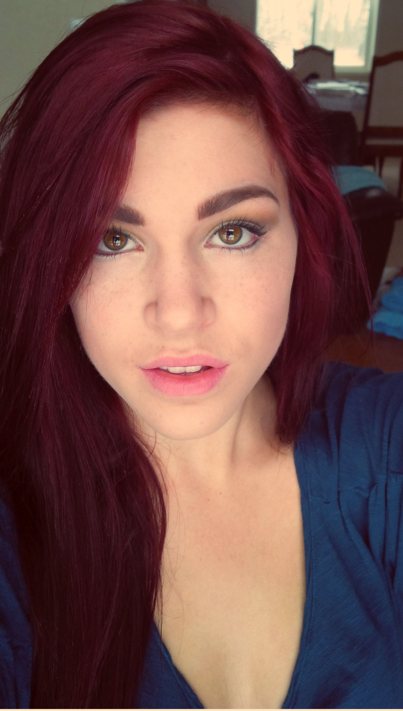 Deep red hair <3 products used: loreal hi color, for dark hair only ...