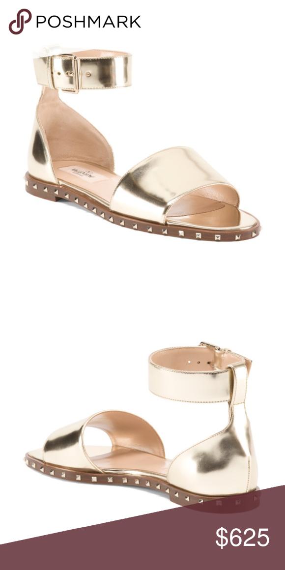 Valentino Soul Rockstud Leather Sandals Rockstud Trim Metallic