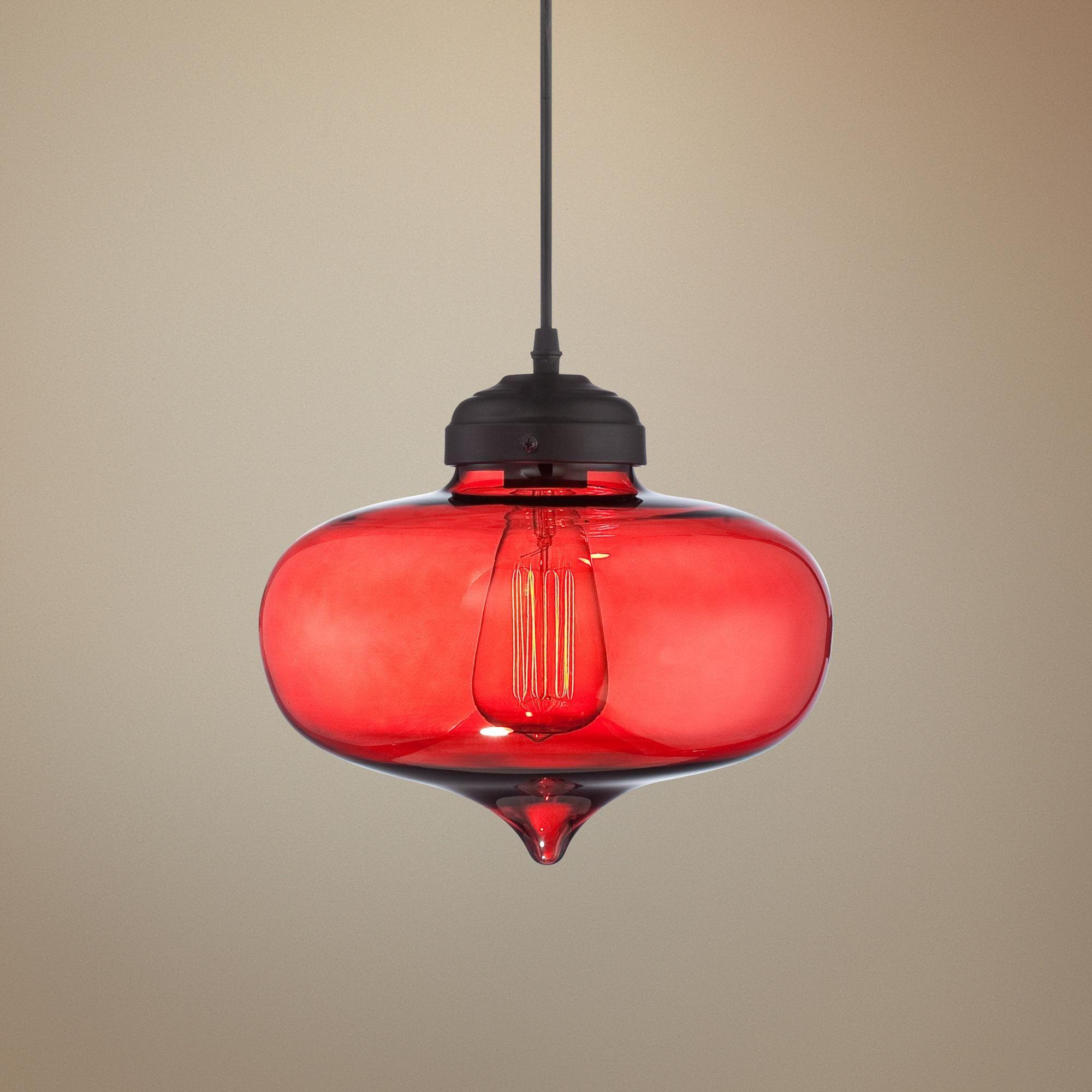 """Possini Euro Darby 10 1/2"""" Wide Red Glass Pendant Light"""