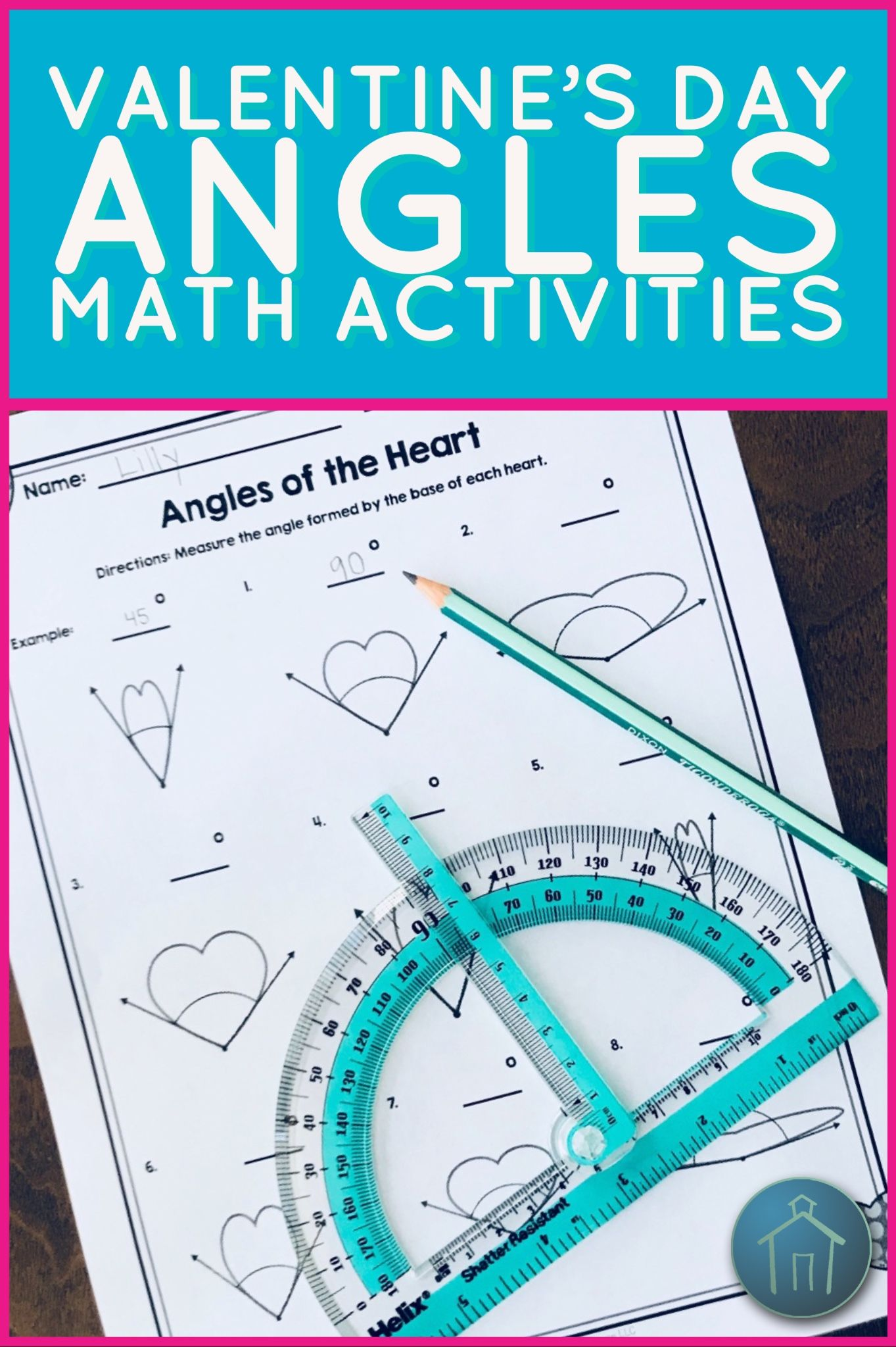 Valentine\'s Day Math Angles Activities | Math, Worksheets and Students