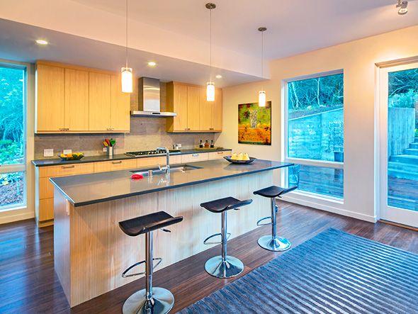 Blu Home Breezehouse prefab home kitchen island with breakfast bar ...