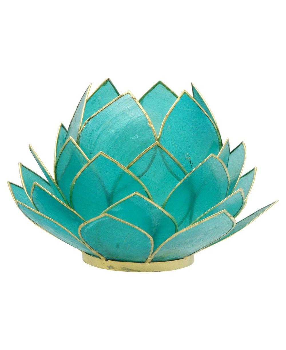 Turquoise Tealight Candle Holder Lotus Tea Light Holder Capiz