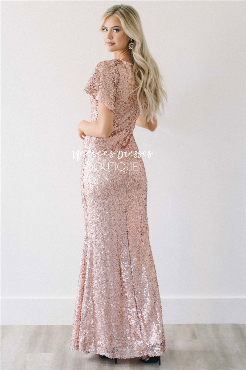 The aurora rose gold sequin gown modest bridesmaid dresses full