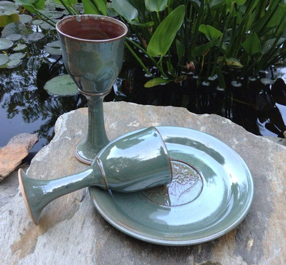 Set of Two Pottery Wine Goblets and Plate, Wheel Thrown Stoneware Chalices and Paten on Etsy, $105.00