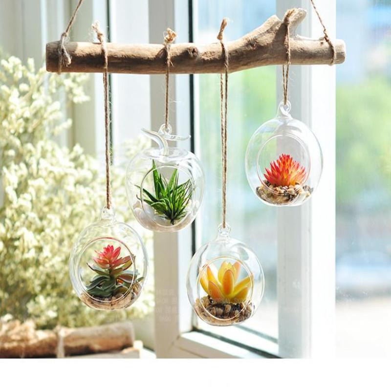 Set Of 4 4 Air Plant Holders Hanging Glass Artificial Terrariums Plants Hanging Air Plants Hanging Plants Hanging Plant Holder