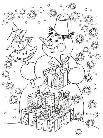 раскраска снеговик с подарками скачать | Раскраски, Сказки ...