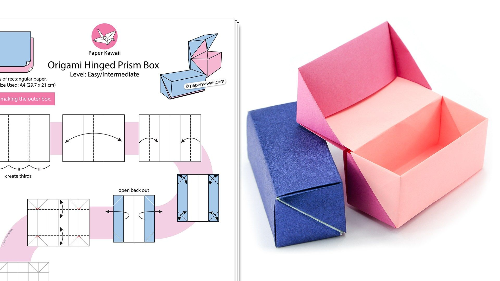 Origami Hinged Prism Gift Box Diagram Paper Kawaii Shop Origami Box Easy Origami Diagrams Origami Easy