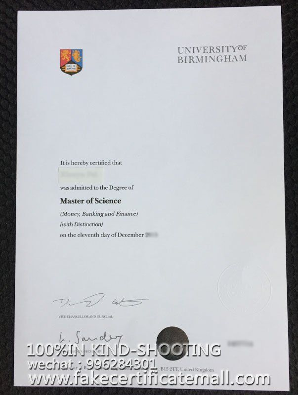 fake University of Birmingham certificate,UoB master-Fake Diplomas