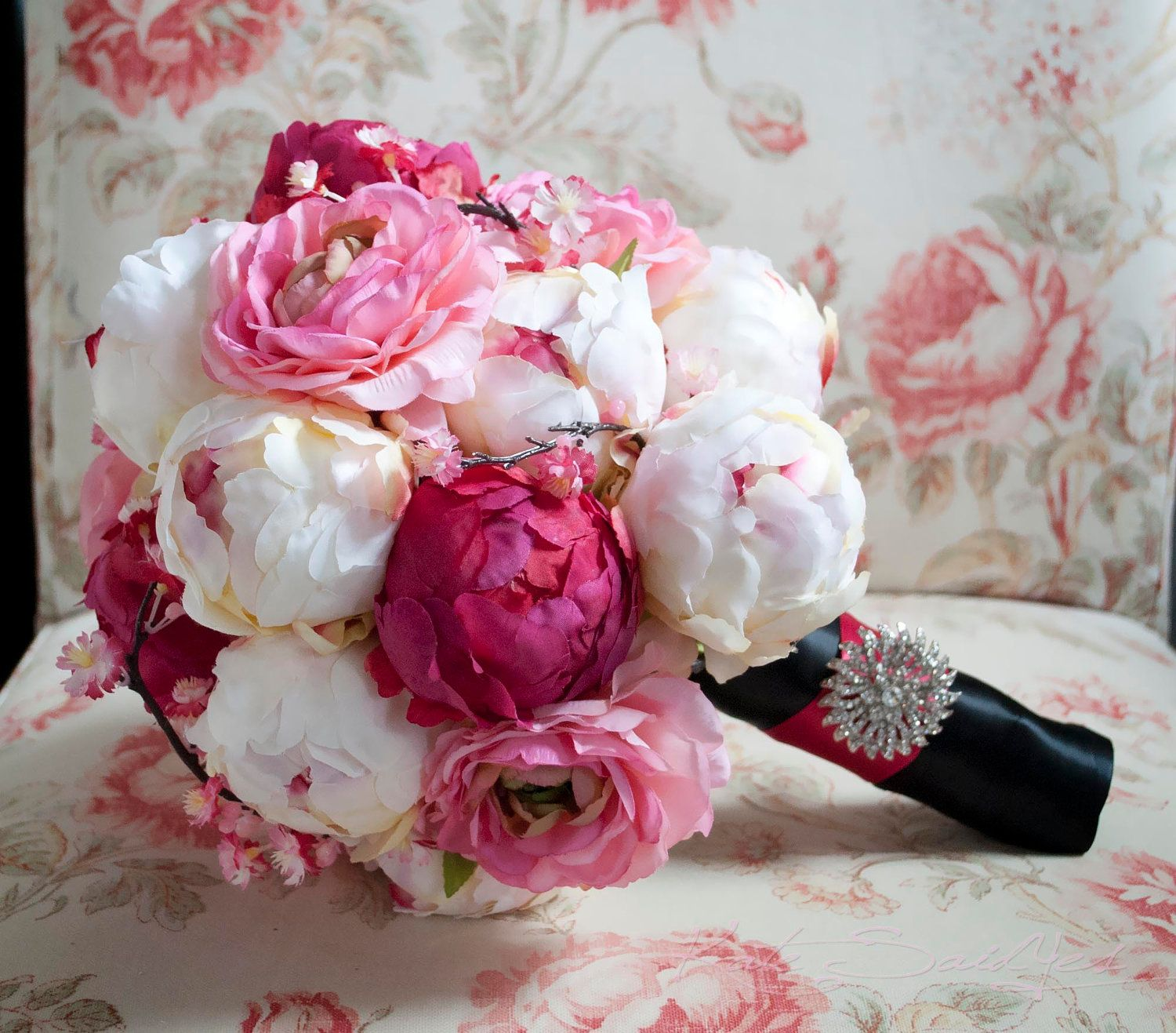Cherry Blossom and Peony Wedding Bouquet Black and by KateSaidYes ...