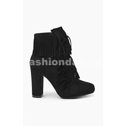cff5d66c38cd6 Dámske čižmy na jeseň v čiernej farbe na podpätku - fashionday.eu ...