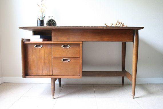 Mid Century Hooker Floating Desk - Vintage Danish Modern Walnut Desk - 1960s Mad Men Eames Era Mainline Desk
