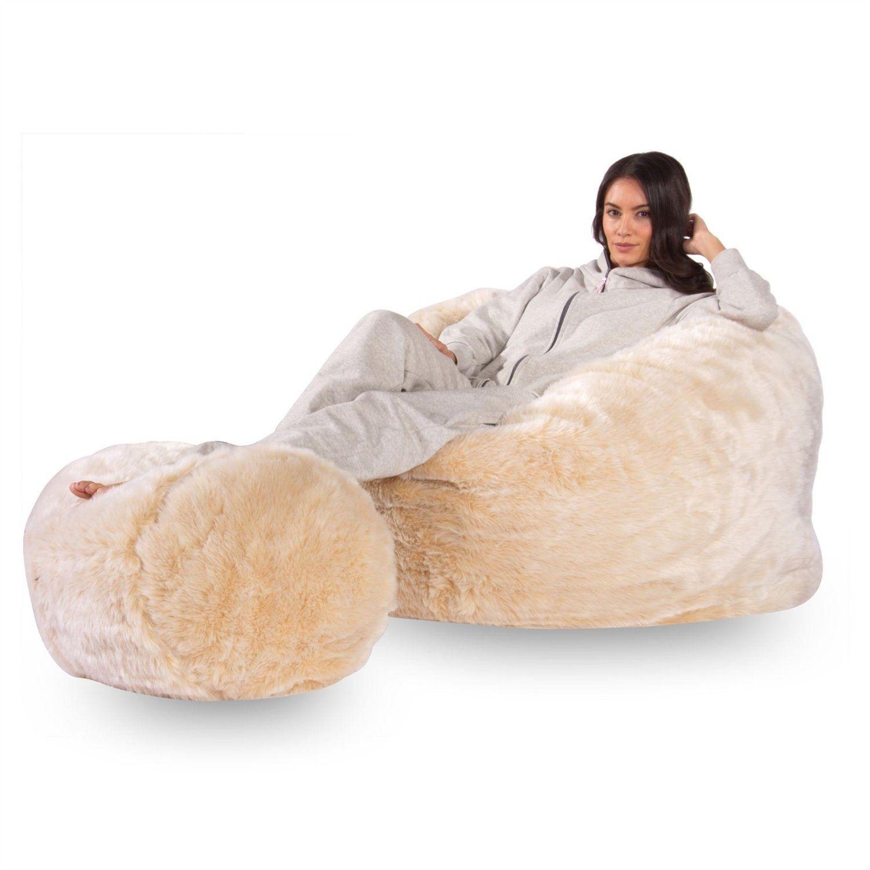c500 L Memory Foam faux FUR Bean Bag & Footstool Set