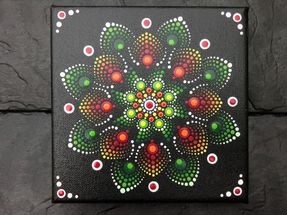 Ich Biete Ein Wundersch Ouml Nes Von Hand Bemaltes Mandala Bild Auf Leinwand An Das Bild Ist Mit Klarlack Versieg Mandala Bilder Mandala Bilder Malen Leinwand