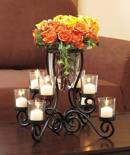 New 8 Cup Scrolled Votive Candle Holder Vase Centerpiece