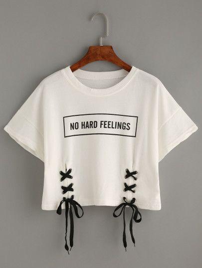 0a5cb73d29b8 Camiseta estampado letras con cordón -blanco   Blusas   Ropa tmblr ...