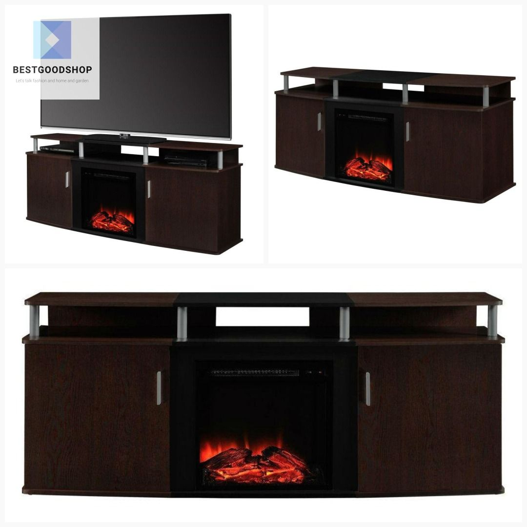 Modern Electric Fireplace Tv Stand In Cherry Black Wood Finish